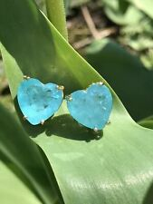 ICE BLUE NATURAL PARAIBA TOURMALINE STUD EARRINGS IN BEAUTIFUL HEART SHAPE STYLE