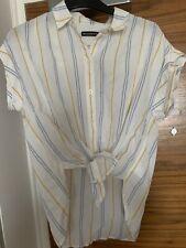 Abercrombie and fitch Women SHORT-SLEEVE POPLIN SHIRT White Stripe Size XS Uk 8
