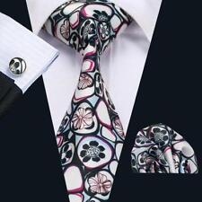 100% Pure Soie Cravate Boutons de Manchette et Mouchoir Set Rouge Blanc Motif Fleuri Noir