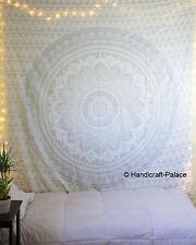 Argent Ombre Mandala Tapisserie Hippie Mur Indien Couvre-Lit Suspendus Literie