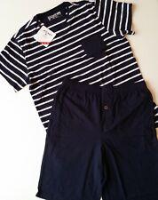 Jockey Herren Pyjama Gr. S M L marine blau weiß gestreift Shorty Schlafanzug