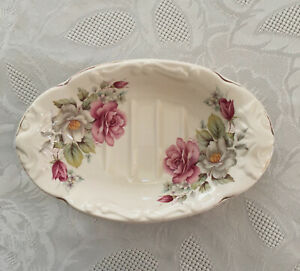 Vintage Pink Floral Cream Oval Soap Dish Malvern Ceramics Made in England