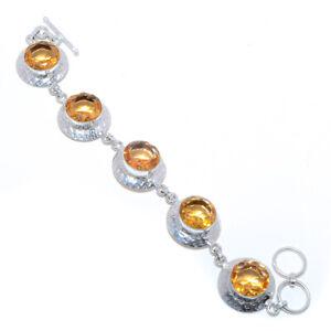 "Morganite Quartz Gemstone 925 Sterling Silver Tennis Bracelet 7.99"" VIB-160"