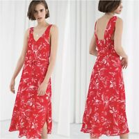 & Other Stories Dress Womens Size 0 Red White Floral Print Sleeveless Midi NWT