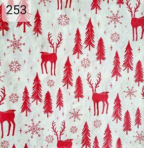 20x Christmas Single Table Paper Napkins,Decoupage/Craft/Vintage/Christmas tree