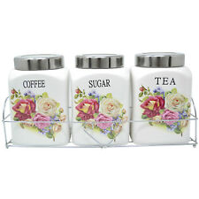 SET OF 3 FLOWER CERAMIC CANISTERS TEA COFFEE SUGAR WITH STAND KITCHEN STORAGE