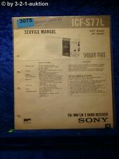 Sony Service Manual ICF S77L 3 Band Receiver (#3075)