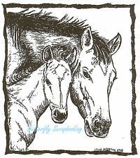 Horse Mare And Foal In Rectangle Wood Mounted Rubber Stamp NORTHWOODS M6880 New