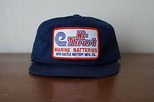 Vintage Hi-Thrust Marine Batteries Patch Blue Pillbox Hat Cap Adjustable USA