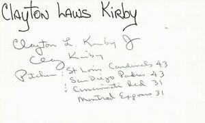 Clay Kirby 1969 San Diego Padres (Dec. 1991) Signed 3x5 Index Card with JSA COA