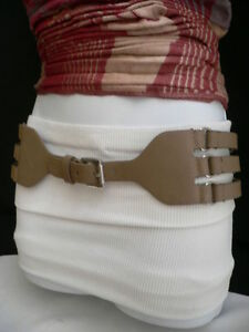 Simple Women Hip Waist Rib Cage Stretchy Faux Leather Taupe Color Chic Belt S M