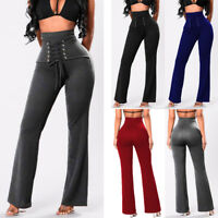 Women High Waist PUSH UP Yoga Pants Fitness Leggings Flare Palazzo Casual Sport