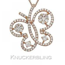 0.60ct F VS Diamante Taglio brillante ciondolo a Farfalla 18ct Rose Oro con Catena