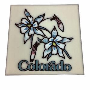 "Colorado Blue Columbine Flower Floral 6"" Square Ceramic Trivet Tile Decoration"
