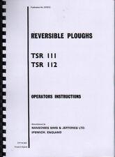 RANSOMES TSR 111 e TSR 112 aratro reversibile ISTRUZIONI E LIBRO parti