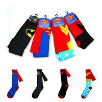 Chic Superhero Superman Batman Knee High With Cape Cosplay Cotton Soft Long Sock