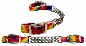 Showman Tye Dye Fully Adjustable Double End Chain Nylon Curb Chain! FREE SHIP!