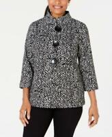 MSRP $70 Jm Collection Petite Printed 3/4-Sleeve Jacket Black Size P/P