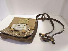 """Jane Ward Leather Messenger Purse Handbag Cat """"Himalayan"""" Tile Beads Art"""