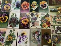Nice~LOT of 25 Victorian Floral~Pansies~PANSY~Flowers greetings Postcards--s318