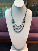 """Vintage Marcasite Gold Blue Glass Beaded Three Strand Waterfall Necklace 22"""""""