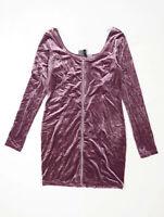H&M Womens Size 14 Textured Purple Velvet Mini Dress (Regular)