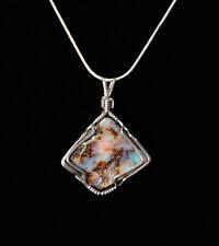 "Australian Boulder Opal Sterling Silver Wire Wrapped Pendant W/18"" Snake Chain"