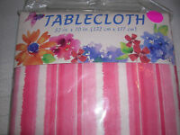 picnic tablecloth party 52 x 70 polyethylene vinyl Pink stripes fabric BACK C26