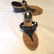 "Coach Women's Shoes Black Patent Thong Sandals w Cork 3.5"" Heel Size 8B"