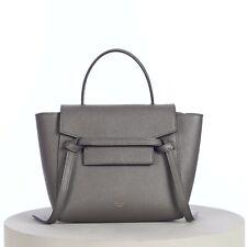 CELINE 2150$ Nano Belt Bag in Grey Grained Calfskin