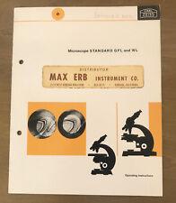 Vintage Carl Zeiss Standard Gfl Amp Wl Microscope Operating Instructions Manual