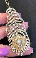 """Vintage White Pearl Rhinestone Peacock Feather Pendant necklace Gold  34"""" Chain"""