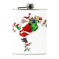 8 oz Retro Pocket Flask Santa Candy Cane Christmas Liquor Gift Vintage Decor
