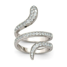Bands Ring in 925 Sterling Silver Snake Shape Round Cut Diamond Women's Wedding
