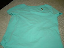 WOMENS CHAPS TOP BY RALPH LAUREN AQUA TURQUOISE SIZE MEDIUM CAP SLEEVES
