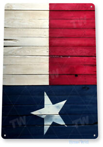 TIN SIGN Texas Flag Wood Tin Metal Sign Lone Star Rustic Decor B288