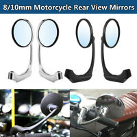 Paire 8/10mm Universal Motorcycle Rear View Mirrors Round For Bobber Cafe