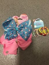 Large JoJo siwa hairbow unicorn/diamonte design plus rainbow hairbands/ bracelet