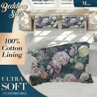Dutch Flowers Floral Pink Dark Duvet Cover Set Single Double Queen King Size