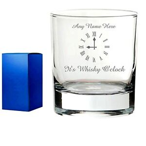 Personalised Engraved Whisky Brandy GIN VODKA Glass Whisky o'clock tumbler gift