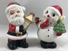 Vintage Brinn'S Set Snowman & Santa Figurines Labels