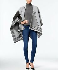 Anne Klein Women's Gray Abstract Linear Split Wrap Poncho