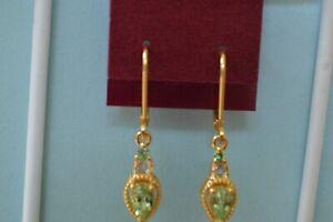 1.04ct Tsavorite Garnet / Topaz Dangle Earrings 14K YG Over Fine Silver ~ Nice