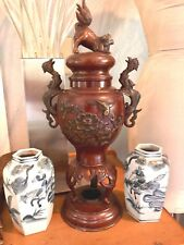 "Meiji Bronze Incense Burner 16"" bird relief foo dragon rooster handle censer"