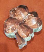 Vintage BACCARAT CRYSTAL France Clover Leaf Shamrock Paperweight - 1lb+