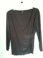 Susan Lawrence size XL Brown faux wrap v-neck 3/4 sleeve top women's