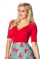 Women's Red Vintage 50's Retro Rockabilly V-Neck Betty Top BANNED Apparel