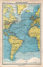 1952 MAP ~ ATLANTIC OCEAN NORTH AMERICA BRITISH ISLES EUROPE ROUTES