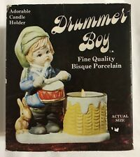 Vintage Jasco Drummer Boy Bisque Porcelain Candle Holder Christmas Decor