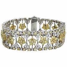 Beautiful Yellow Star Wedding Bracelet With 8.14ct White & 13.32ct Yellow Stones